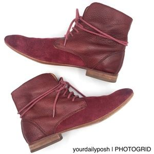 Anthropologie burgundy leather suede cuffed boots